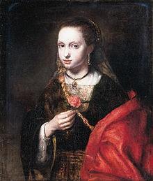 Meisje houdt een roos vast, 1655