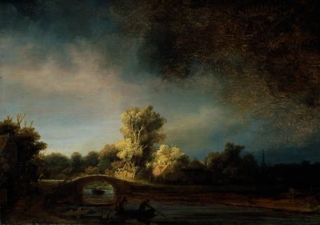 Foto van schilderij 'Landschap met stenen brug'