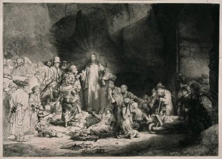 Foto van de prent 'De predikende Christus', ook wel 'De Honderd Gulden prent'