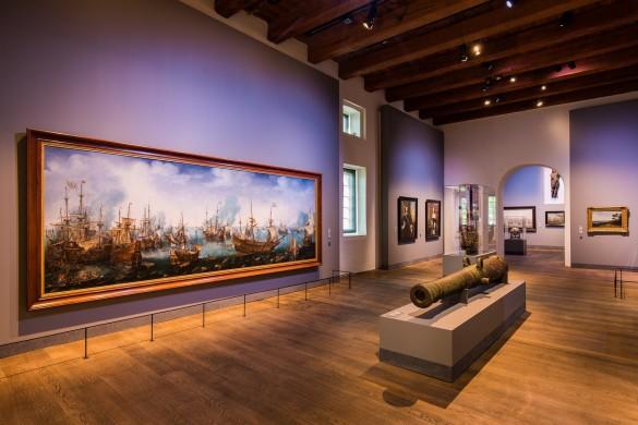 De Slag bij Gibraltar in Het Scheepvaartmuseum.