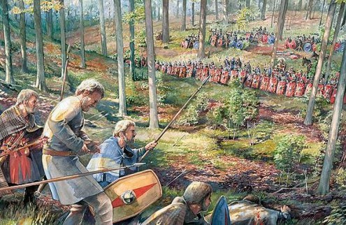 Kunstenaars-impressie van een veldslag tussen Romeinen en Germanen diep in het huidige Duitsland