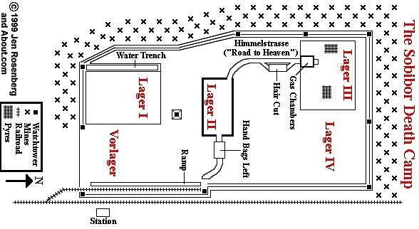 Overzicht van vernietigingskamp Sobibor.