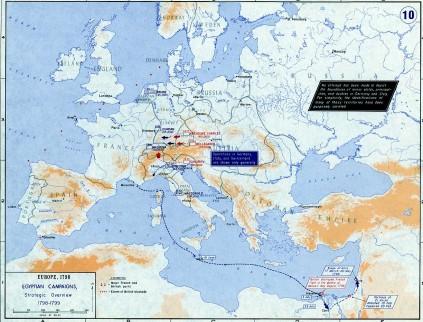 Strategische situatie van Europa in 1798 tijdens de Tweede Coalitieoorlog