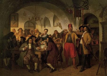 Het eerste koffiehuis van Wenen, door Franz Schams (1823)