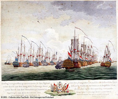 De slag bij de Doggersbank, de opening van de Vierde Engelse Zee-oorlog (1780-1784) waarin de Nederlandse vloot ten onder ging