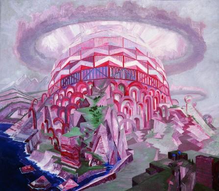 Koepelconstructie met rood, roze en wit