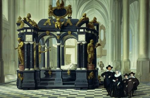 Een (onbekende) familie naast het praalgraf van Willem van Oranje in Delft