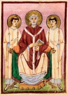 Foto van afbeelding van Wilibrord in middeleeuws manuscript