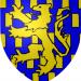 Blauwe achtergrond en gele leeuw