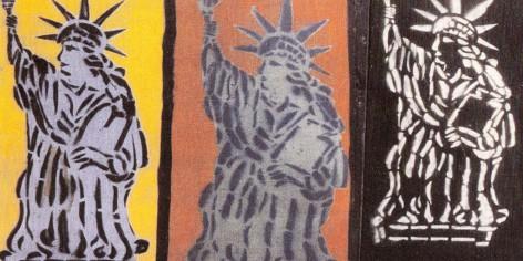 Muurschildering door Thierry Noir in Berlijn