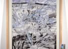 getekende, gekraste boom- en wolkachtige structuren, in zwart, blauw en wit