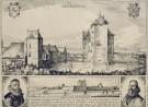 Prent 'De aankomst van Hugo de Groot en Rombout Hogerbeets op slot Loevestein, 1619.'