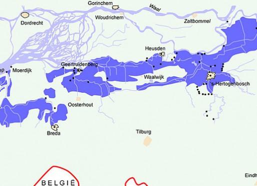 Kaart van Noord-Brabant met inundatiegebieden en forten van de Zuiderwaterlinie